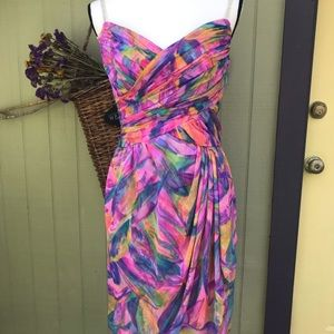 Vintage 80s Chiffon Colorful Abstract Party Dress